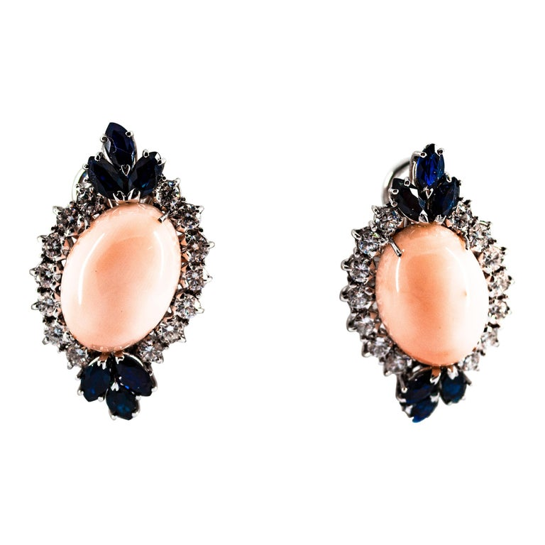 7.18 Carat White Diamond Blue Sapphire Pink Coral White Gold Clip-On Earrings For Sale