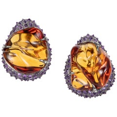 71.89ct Citrine Tumble Amethyst Diamond 18K Gold Silver Clip On Earrings
