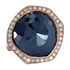 7.19 Carat Custom Cut Black Diamond with White Diamond Halo Set in Rose Gold
