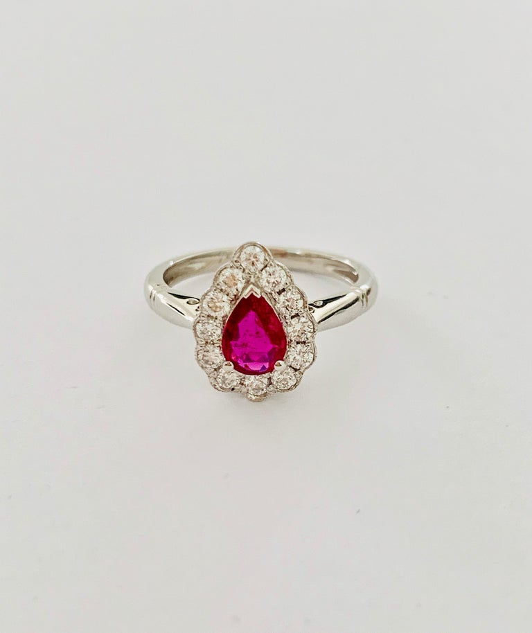 .71 Carat Pear Cut Ruby Set in 0.36 Carat Diamond Surround of 18 Carat Gold In New Condition For Sale In Chislehurst, Kent