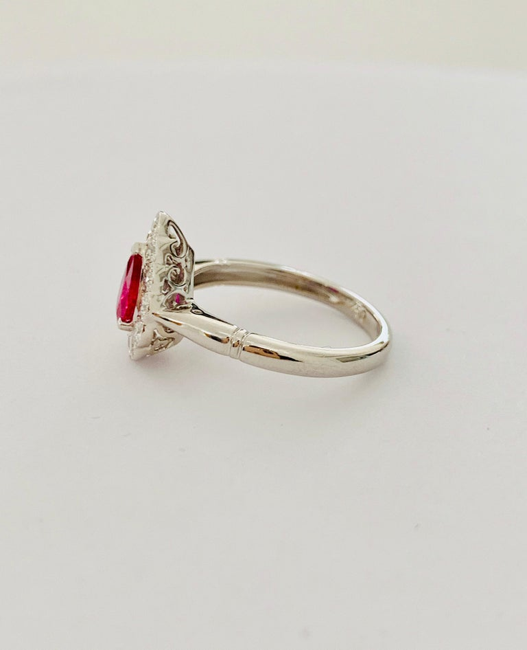.71 Carat Pear Cut Ruby Set in 0.36 Carat Diamond Surround of 18 Carat Gold For Sale 1
