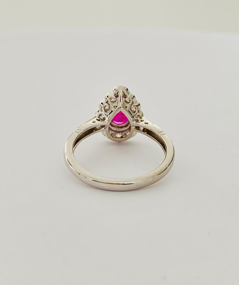 .71 Carat Pear Cut Ruby Set in 0.36 Carat Diamond Surround of 18 Carat Gold For Sale 2