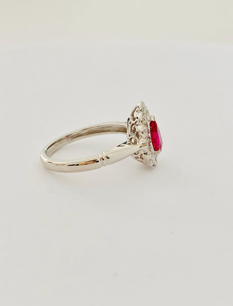 .71 Carat Pear Cut Ruby Set in 0.36 Carat Diamond Surround of 18 Carat Gold For Sale 3