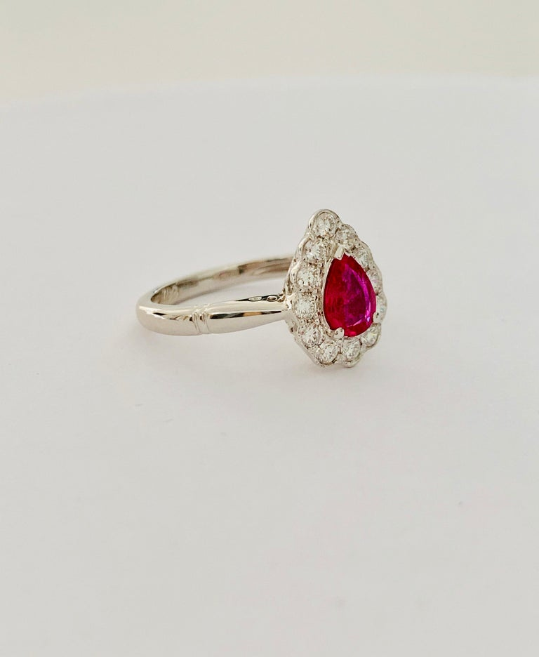 .71 Carat Pear Cut Ruby Set in 0.36 Carat Diamond Surround of 18 Carat Gold For Sale 4