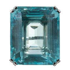 72 Carat Aquamarine and Diamond Ring