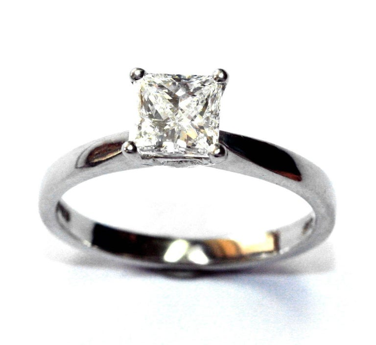 Contemporary .72 Carat Princess Cut Platinum White Diamond Engagement Ring For Sale