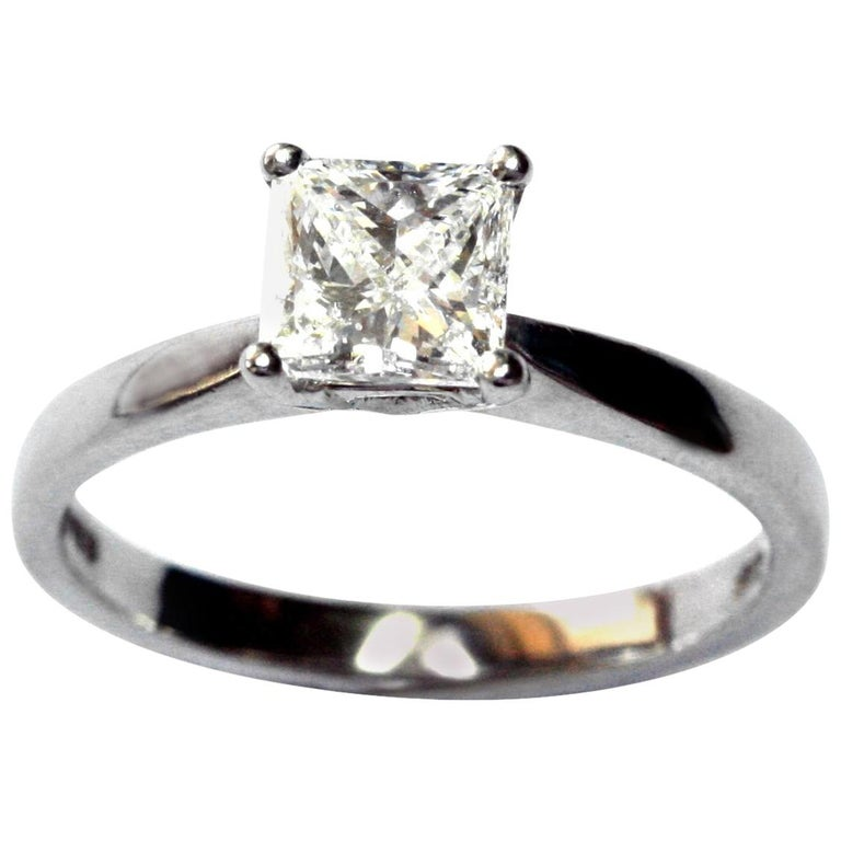 .72 Carat Princess Cut Platinum White Diamond Engagement Ring For Sale