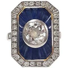 .72 Carat Art Deco Diamond and Sapphire Cocktail Ring