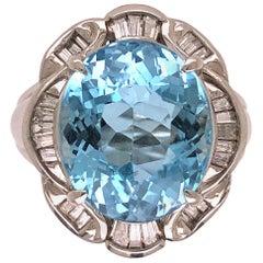 7.20 Carat Aquamarine and Diamond Platinum Cocktail Ring Estate Fine Jewelry