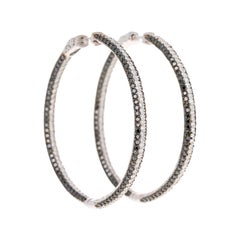 7.20 Carat Black Diamond Hoop Earrings 14 Karat White Gold