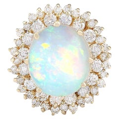 7.20 Carat Natural Opal 18 Karat Yellow Gold Diamond Ring