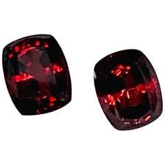 7.20 Carat Rhodolite Garnet Cushion Pair, Unset Loose Drop Earring Gemstones