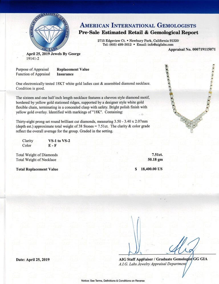 7.20 Carat Two-Tone Diamond Necklace For Sale 5