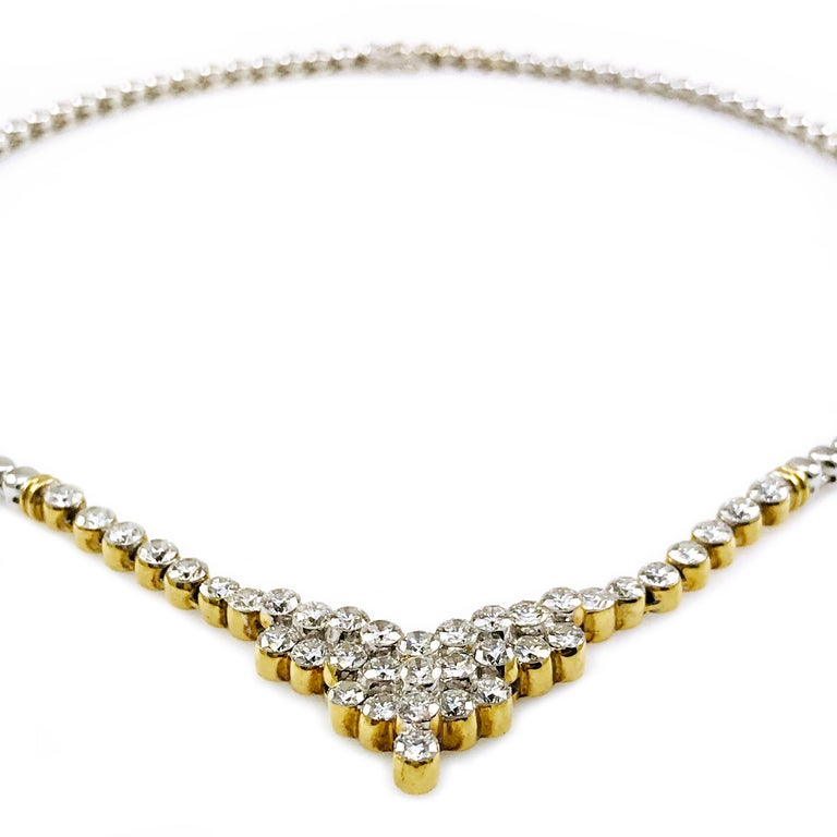 Round Cut 7.20 Carat Two-Tone Diamond Necklace For Sale