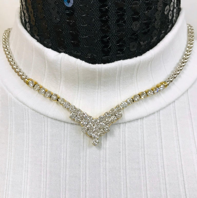 7.20 Carat Two-Tone Diamond Necklace For Sale 2