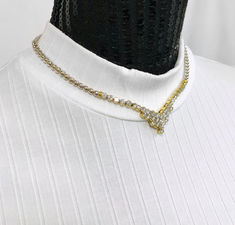 7.20 Carat Two-Tone Diamond Necklace For Sale 3
