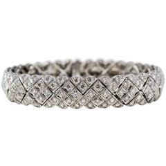 7.20 Carat Total Round Pave Diamond Cuff Bracelet 18 Karat White Gold E-F Color