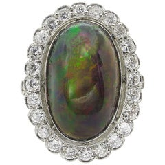 7.21 Carat Crystal Black Opal and Diamond Cluster Engagement Wedding Ring