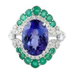 7.21 Carat Tanzanite Emerald Diamond 18 Karat Gold Ring