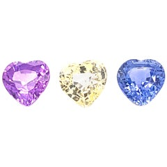 7.22 Carat Heart-Shaped Unheated Blue, Pink, and Yellow Sapphire Trio