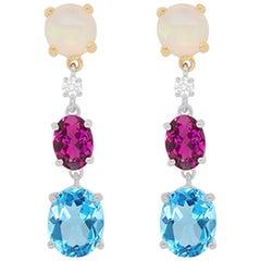 7.22 Carat Multi-Color Gemstone and Diamond Drop Earrings