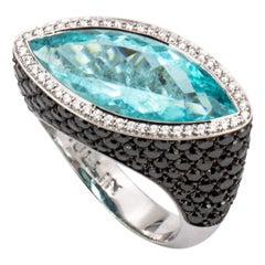 7.22 Carat Paraiba Tourmaline and Black Diamond Cocktail Ring