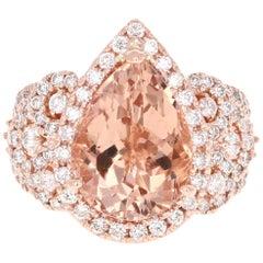 7.22 Carat Pear Cut Morganite Diamond Rose Gold Engagement Ring