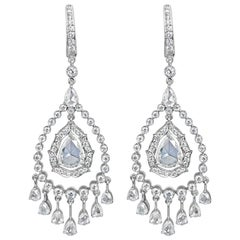 7.22 Carat Rose Cut and Round Brilliant Cut Drop Diamond Earring