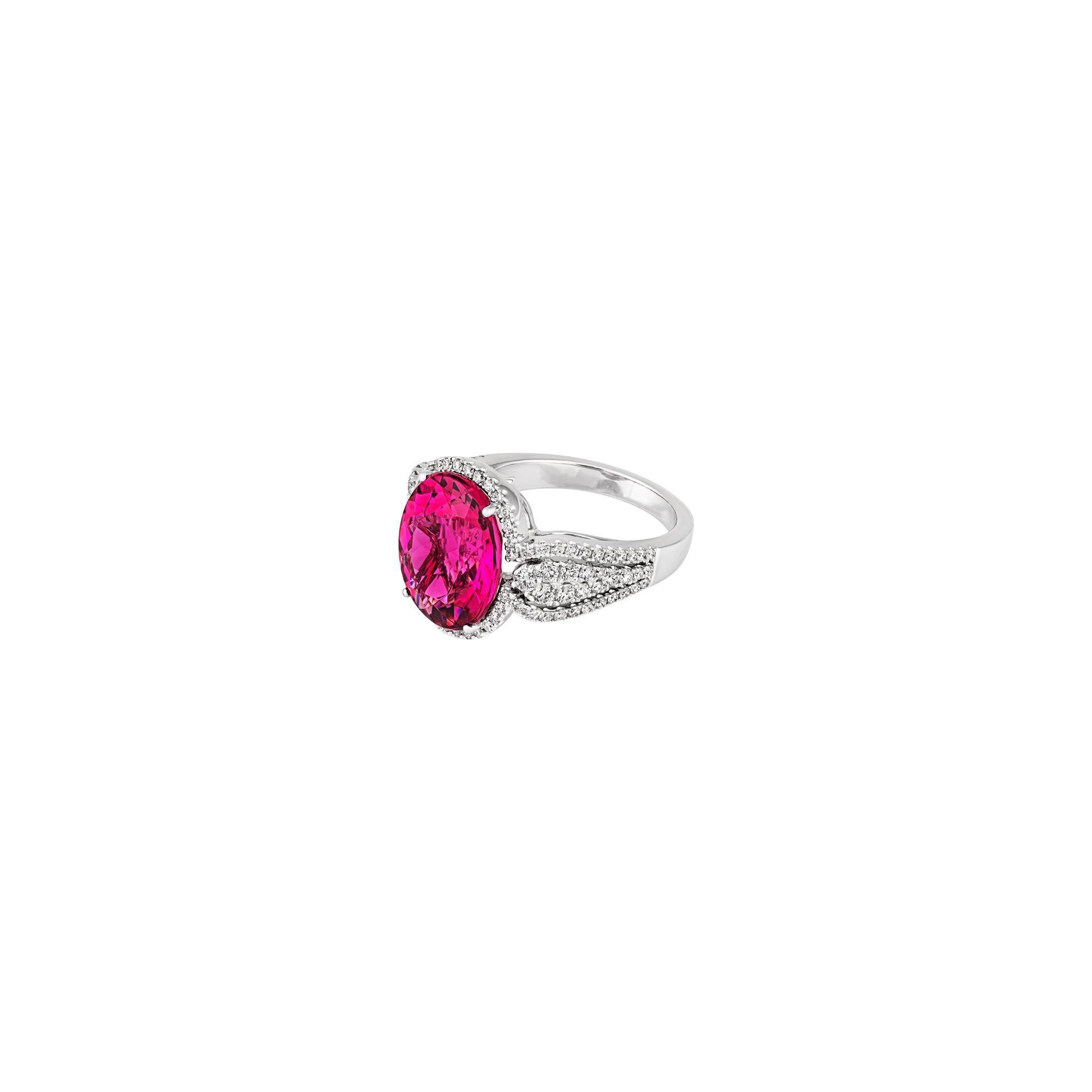 7.22ct Pink Tourmaline .95ct Diamond 18kt White Gold Ring