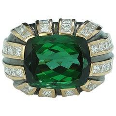 7.23 Carat Green Tourmaline and Diamond Art Deco Ring