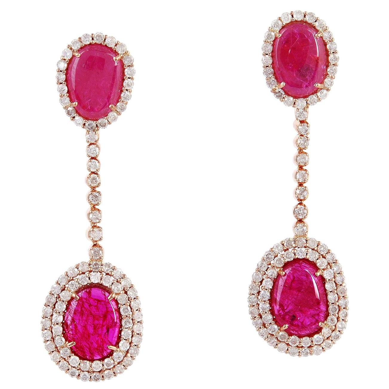 7.23 Carat Ruby Diamond 18 Karat Gold Chain Drop Earrings