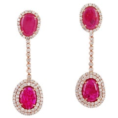 7.23 Carat Ruby Diamond 18 Karat Gold Chain Drop Earrings