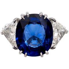 7.23 Carat Sapphire and Trillion Diamond Ring