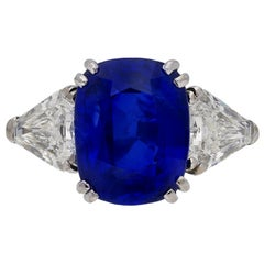 7.23 Carat Unenhanced Royal Blue Burmese Sapphire and Diamond Ring, circa 1960s
