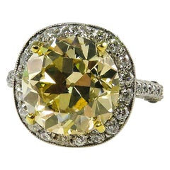 7.24 Carat Estate Fancy Yellow Round Diamond Wedding Plat Ring EGL, USA