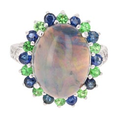 7.24 Carat Opal Sapphire Tsavorite Diamond Cocktail Ring 14 Karat White Gold