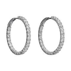 7.24 Carat Round Brilliant Cut Diamond 18 Karat White Gold Hoop Earrings