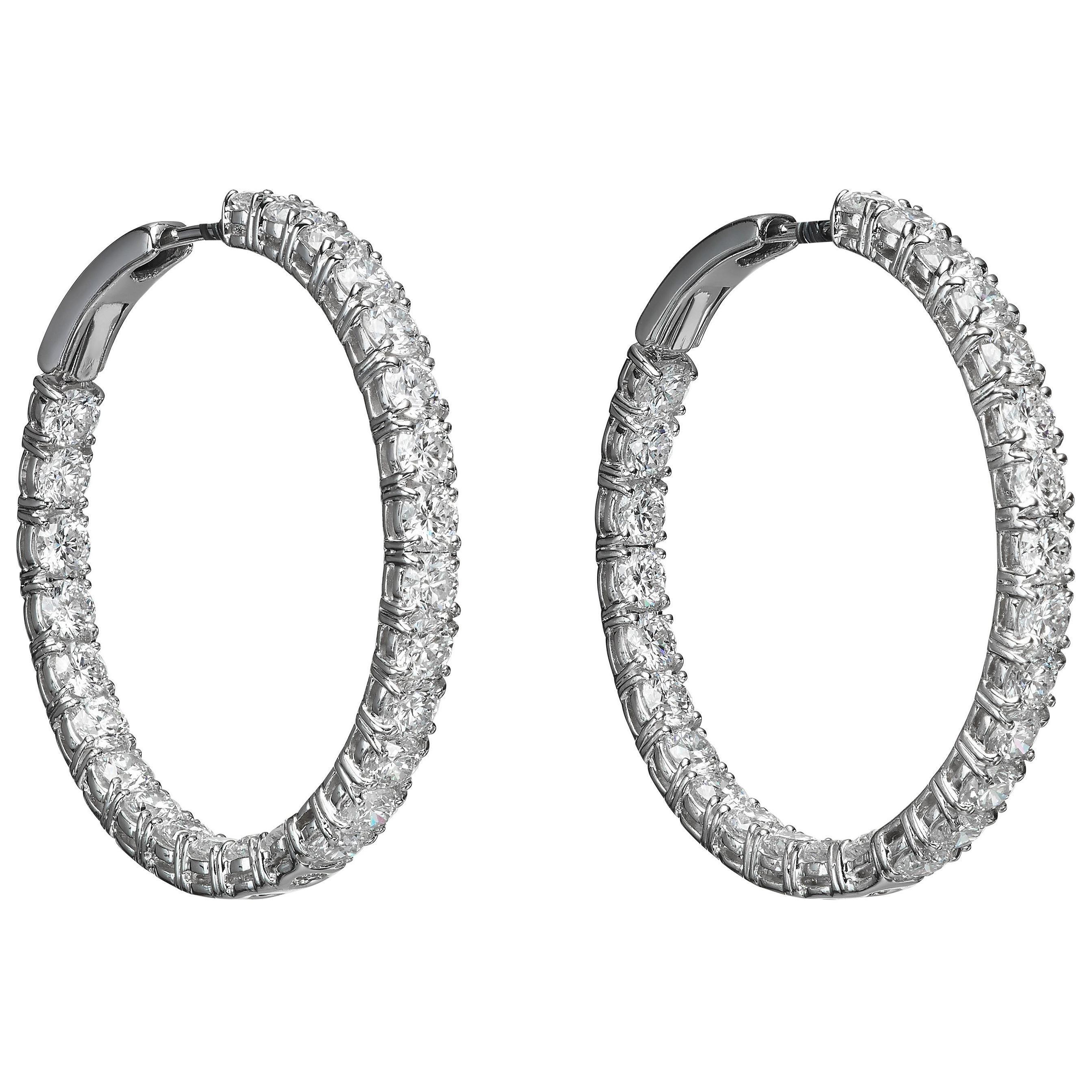 7.24 Carat White Diamond 18 Karat White Gold Hoop Earrings