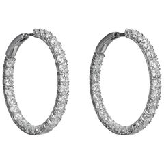 7.24 Carat White Diamond 18 Karat White Gold Hoop Earrings