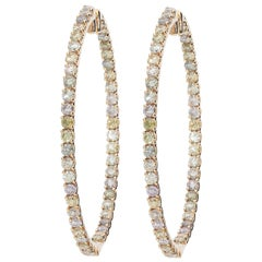 7.24 Carat Multicolored Round Brilliant Diamonds Pink Gold Oval Hoop Earrings