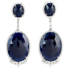 72.44 Carat Blue Sapphire Diamond 18 Karat Gold Earrings