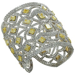 72.44 Carat Fancy Yellow Diamond Cuff Bangle