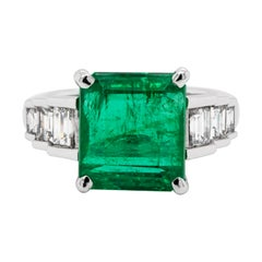 7.24ct Emerald and Diamond 18 Carat White Gold Engagement Ring