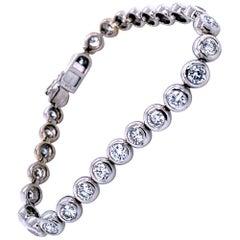 7.25 Carat Bezel Set Round Diamond Gold Tennis Bracelet