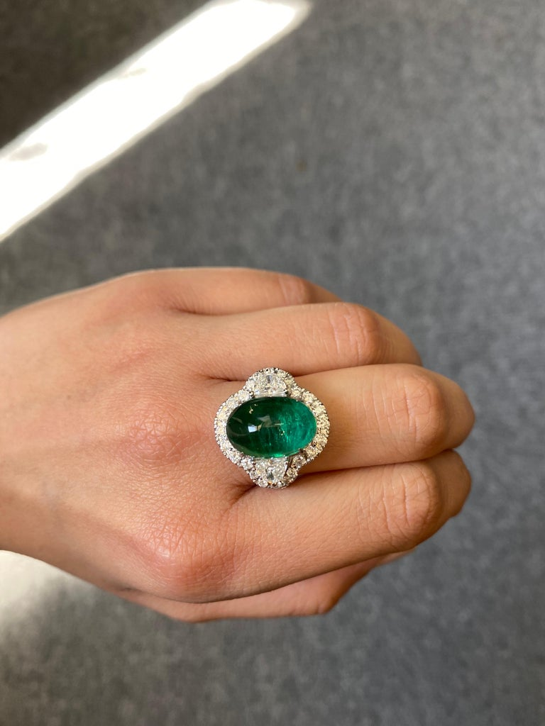 Modern 7.25 Carat Emerald and Diamond Three-Stone Engagement Ring For Sale