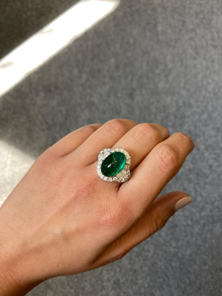 Oval Cut 7.25 Carat Emerald and Diamond Three-Stone Engagement Ring For Sale