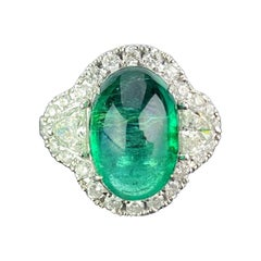 7.25 Carat Emerald and Diamond Three-Stone Engagement Ring