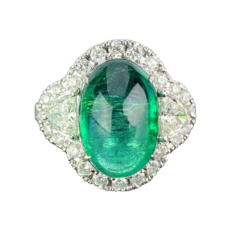 7.25 Carat Emerald and Diamond Three-Stone Engagement Ring For Sale