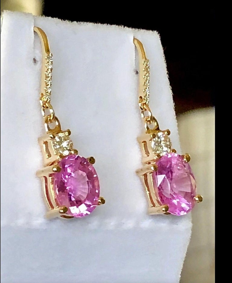 7.25 Carat Natural Burma Pink Sapphire Diamond Earrings 18 Karat In Excellent Condition For Sale In Brunswick, ME