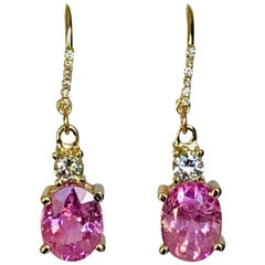 7.25 Carat Natural Burma Pink Sapphire Diamond Earrings 18 Karat